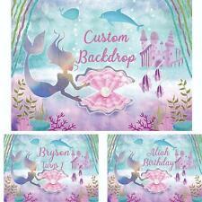 Little Mermaid Backdrop for Baby Princess Birthday Mermaid Theme Party Backdrop