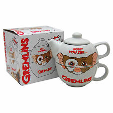 Gremlins Gizmo Teapot For One - Funny Novelty Tea Pot and Cup Set - Mogwai Grey