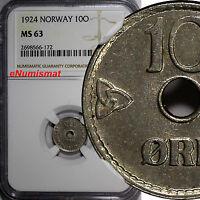 Norway Haakon VII Copper-Nickel 1924 10 Ore NGC MS63 1st YEAR TYPE  KM# 383