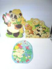 Vintage Happy Spring Easter Bunny Die Cut Hanging Decor 2 Sided Paper Set