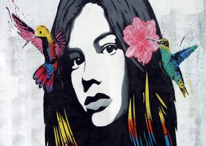 A1 CANVAS PRINT - GIRL FACE BIRDS FLOWER  GRAFFITI STREET poster  ART  painting