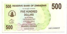 Zimbabwe 500 dollars 2006 bearer cheque   FDS  UNC    pick 43    lotto 3607
