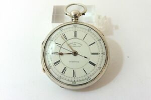 1881 SILVER/GOLD CENTRE SECONDS CHRONOGRAPH FUSEE POCKET WATCH,FOR REPAIR