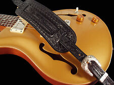 EL DORADO LEATHER GUITAR STRAP - HAND TOOLED ~ CHOICE OF BROWN, BLACK OR TAN