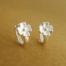 Solid 925 Sterling Silver Clover Flower Shamrock Blossom Huggie Hoop Earrings