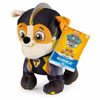 """SpinMaster Rubble Mighty Pups Super Paws Stuffed Figure 8"""" Paw Patrol New"""
