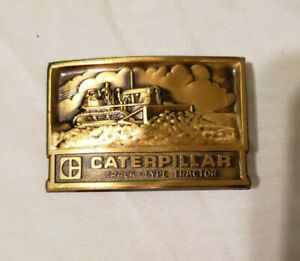 Vintage CAT Caterpillar Belt Buckle Bull Dozer Track - Type Tractor - Free Ship!