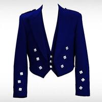 "Blue Velvet Prince Charlie Kilt Jacket With Waistcoat/Vest - Sizes 36""- 54"""