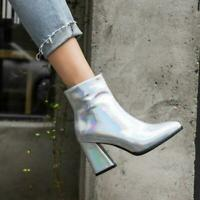 Women Pointy Toe  Leather Ankle Boots Block Heels Patent leather Zipper shoes