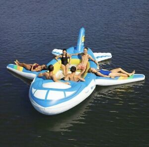 NEW GIANT HUGE INFLATABLE AIRPLANE JET SPEEDBOAT FLOATING ISLAND LAKE RIVER RAFT