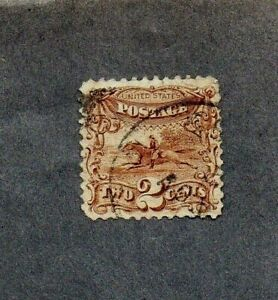 USA 1869. 2c BROWN 'POST RIDER' STAMP GU. SG No 115 cat £90+ (2015)