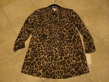 Charter Club leopard Sexy 3/4 sleeve womans shirt NWT SIZE MEDIUM BUTTON DOWN