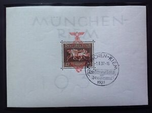 Third Reich Brown Ribbon of Germany Miniature Sheet Day of Race Cancel 1/8/1937