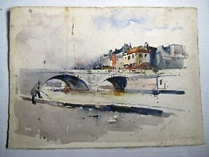 "Charles Herbert Woodbury ""Paris Canal 1891"" watercolor"