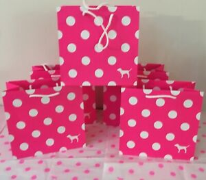 5 New Victoria's Secret SMALL PINK POLKA DOT Paper Gift Shopping Favor Bags  :)