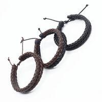 Bracelet double en cuir punk noir ou brun pour homme / femme