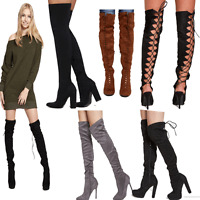 MIX DIVADAMES Womens High Lace Up Over the Knee/Lycra Black Boots