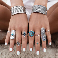 9PC Retro Antique Silver Gypsy Boho Rings Set Aztec Turquoise Women Jewelry Gift
