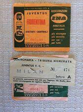 2 BIGLIETTI CALCIO JUVENTUS VS. A.C. MILAN  E VS. FIORENTINA CAMPIONATO 1973/74