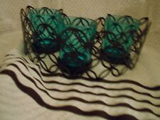 Partylite Black Metal And Blue Glass Candle Holder For 3 Votives Or Tealights