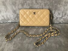 100% Authentic Chanel Beige Lambskin Leather Crossbody Bag Pouch on Chain