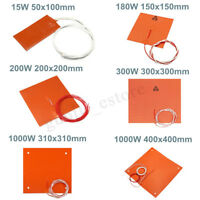 15W-1000W 110V-220V 3D Printer Heated Bed Silicone Heater Pad Mat Heating Plate