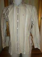 Chemise coton beige rayé marron TOMMY HILFIGER S/P manches longues