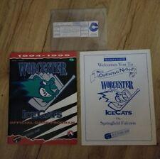 Worcester IceCats 10/1/94 Opening Night unused Ticket/Program/Inlay. 1ST Game!