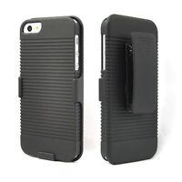 Hard Black Ribbed Case & Belt Clip Holster W/ Kickstand For Apple iPhone 5/5S