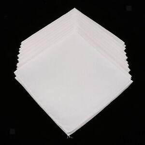10pcs Men Women 100% Cotton White Handkerchiefs Soft Hanky Party Hankies