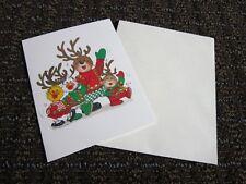 Suzys Zoo Christmas Card Reindeer Antlers Friends Jingle Bell Jolly Unused