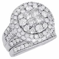 14K White Gold Princess Diamond Bridal Set Big Round Engagement Ring 3 Ct.
