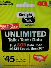 Straight Talk Rob Refill Card 30 Day $45 Prepaid Unlimited Service Top Up Phone