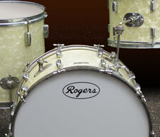 Rogers, Vintage Ink Stamp Style, Repro Logo - Adhesive Vinyl Decal for Bass Drum