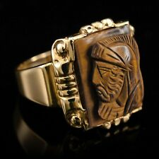 RING 10K Yellow Gold Men's Band Tiger's Eye with Portrait on Brown Stone Size 10