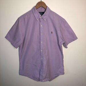 Polo Ralph Lauren Pink Button Down Short Sleeve Shirt Men's Size Large L