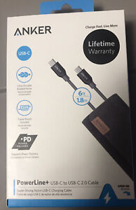 New 6 ft. ANKER PowerLine +  USB-C to USB-C 2.0 Cable A8188ZA2 #EB74