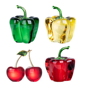 3D Crystal Fruit Sculpture Figurines Home Office Decorative Ornament Crafts