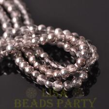 New 100pcs 6mm Round Glass Loose Spacer Beads Jewelry Making Light Champagne