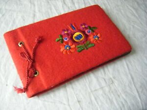 Vintage Photo Album, Red Felt Cover with Embroidery