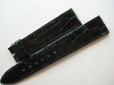GENUINE ROLEX BLACK CROCODILE LEATHER VINTAGE WATCH BAND STRAP 21 mm x 16 mm