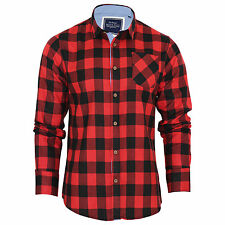 Mens Check Shirt Brave Soul Flannel Brushed Cotton Long Sleeve Casual Top Jack - Red Medium