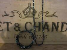 Pretty Vintage Iridescent Blue Bead Necklace & Matching Bracelet Party Christmas
