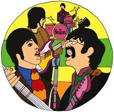 The Beatles Sgt. Pepper's era Flower Power type Art - Window Cling Sticker Decal