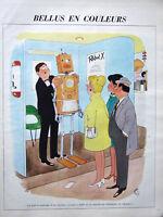 DESSIN DE PRESSE 1965 HUMORISTIQUE BELLUS EN COULEURS - ROBOT X