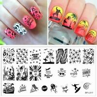 Nail Art Stamping Plate Image Decoration Summer Holiday Beach Seaside Fish BP17