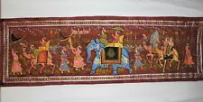 Beautiful Elegant Traditional Art Indian Oil Painting on Long Silk Cloth Wall