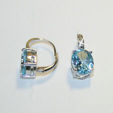 6.25ct Oval Blue Topaz Tiny Diamond Leverback Earring 14k White Gold over 925 SS