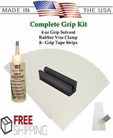 Golf Club GRIP KIT 8 Tape Strips, Solvent, Vise Clamp, Regrip 8 Golf Clubs