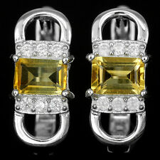 Natural CITRINE & White CZ Sterling 925 Silver EARRINGS